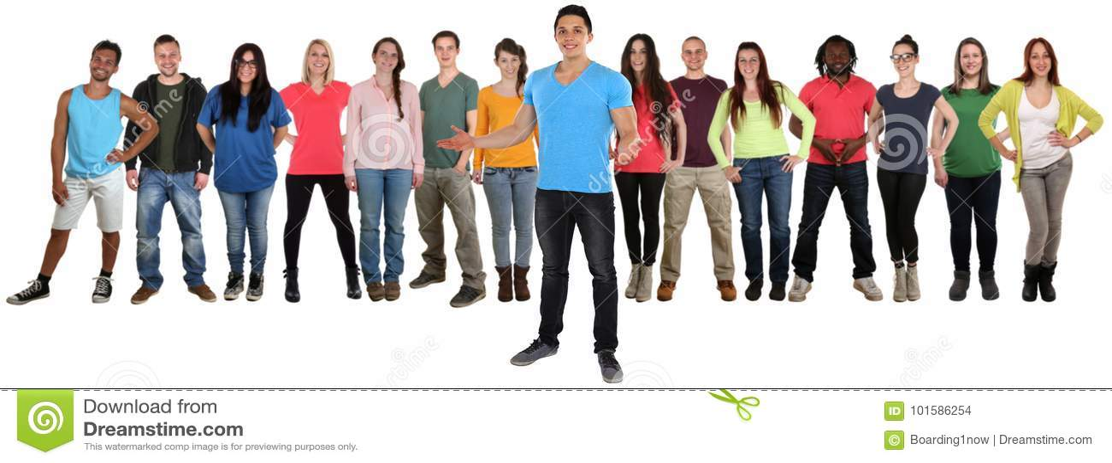 Grupp av standi för inbjudan för ungdomarvänner välkommen inviterande