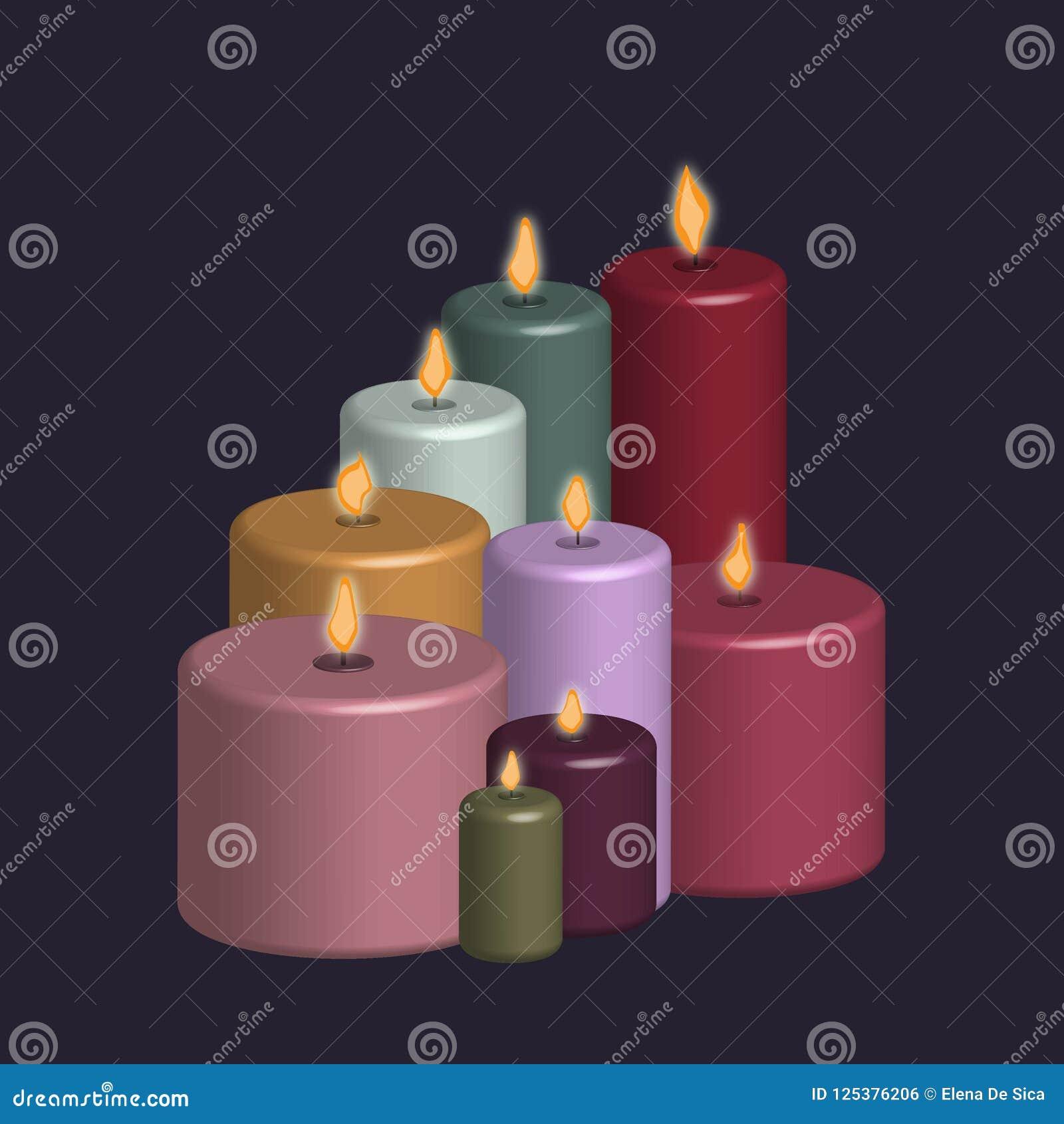 Grupp av stearinljus som skapas med effekten 3d