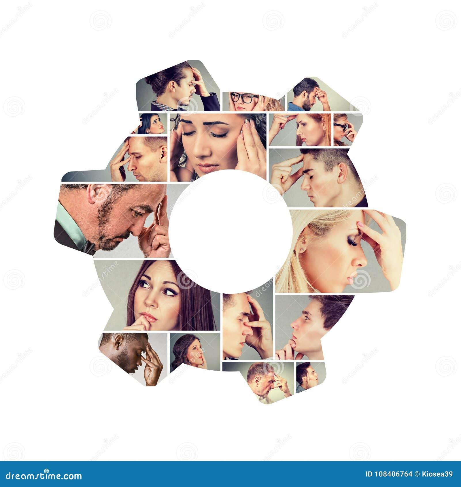 Grupp av tänkande folk i collage