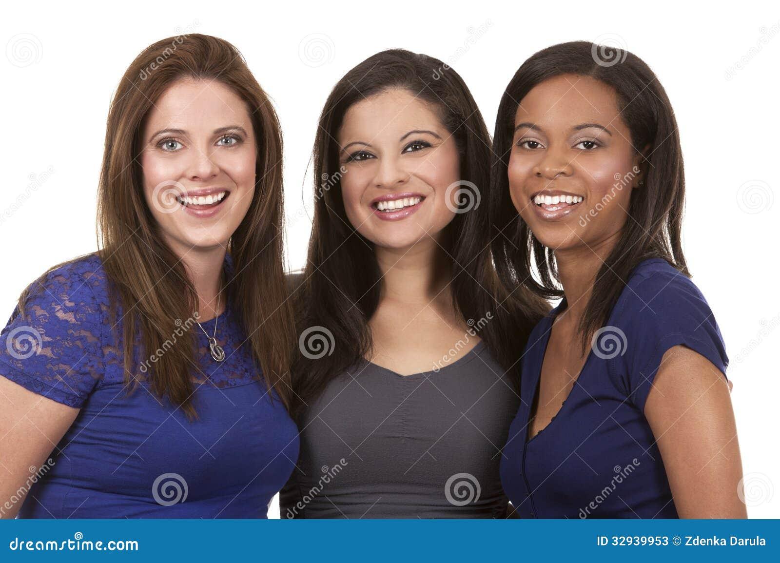 Grupp av tillfälliga kvinnor