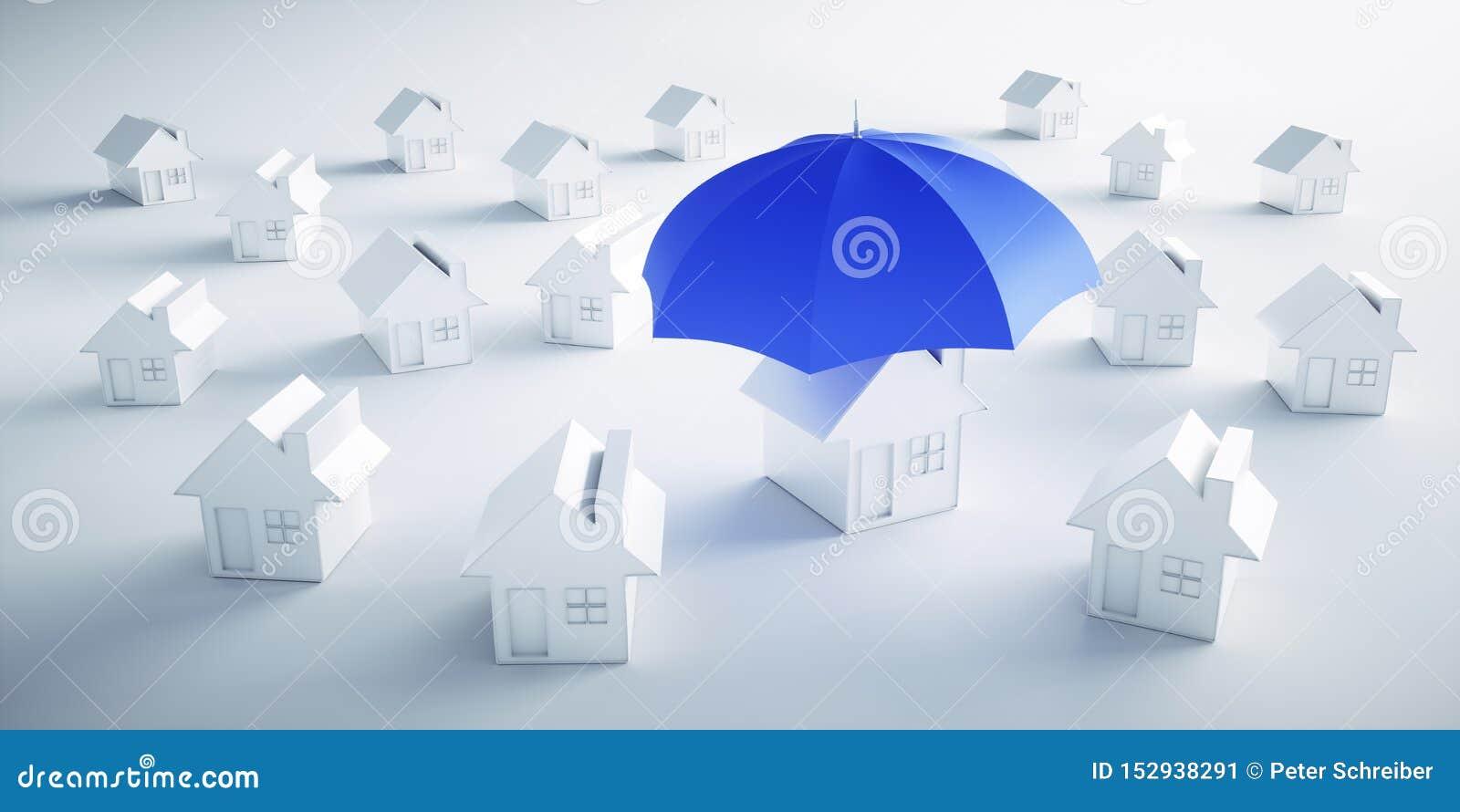 Grupp av vita hus med ett paraply