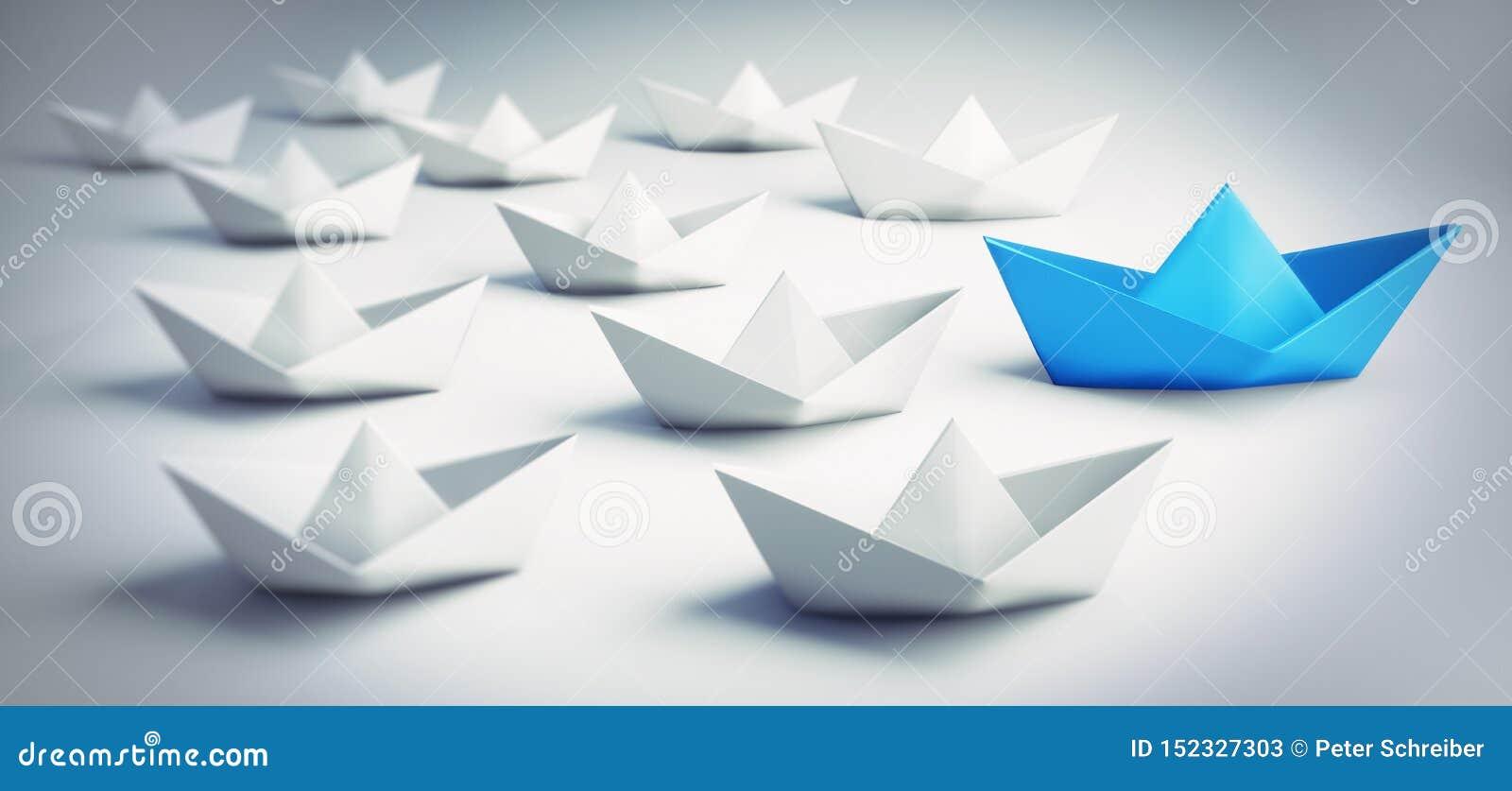 Grupp av vita och blåa pappers- fartyg - illustration 3D