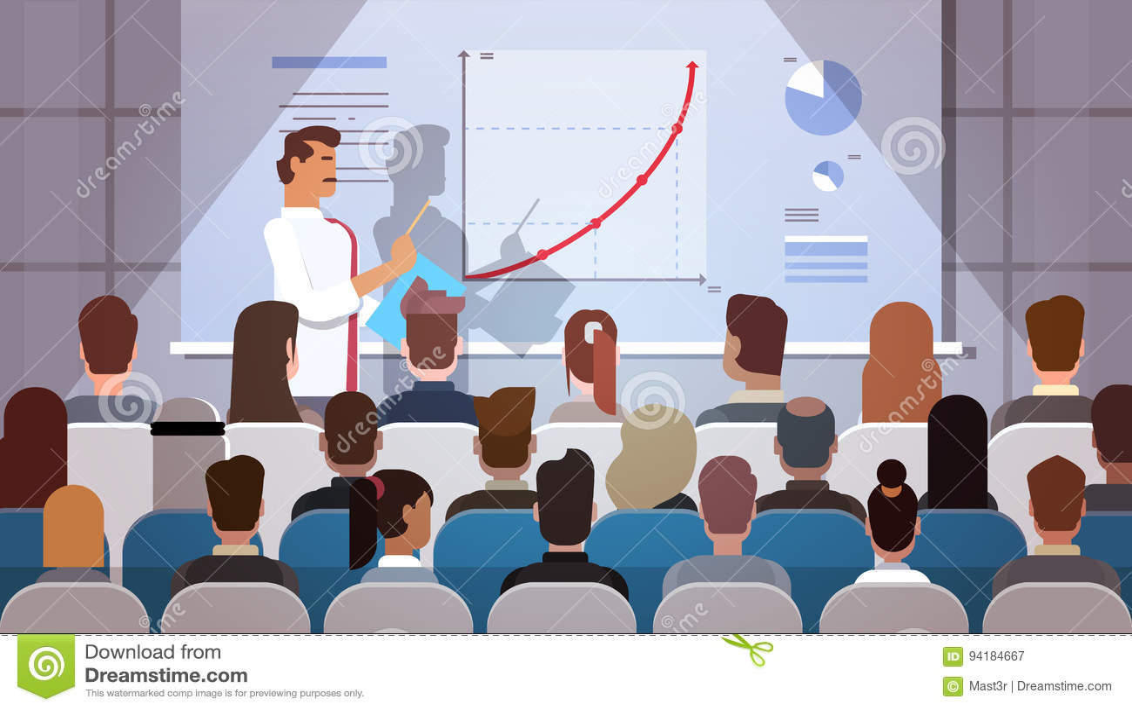 Grupp för affärsfolk på kurser för konferensmöteutbildning Flip Chart med grafen