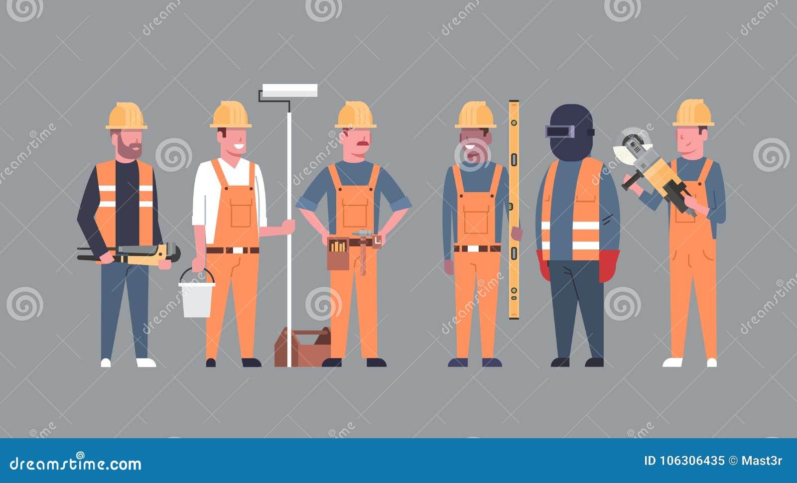 Grupp för byggmästare för Costruction arbetarTeam Industrial Technicians Mix Race män