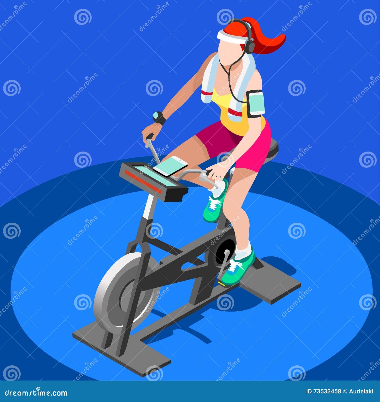 Grupp för motionscykelsnurrkondition 3D sänker den isometriska snurrkonditioncykeln Idrottshallgrupp som utarbetar cykla den inom