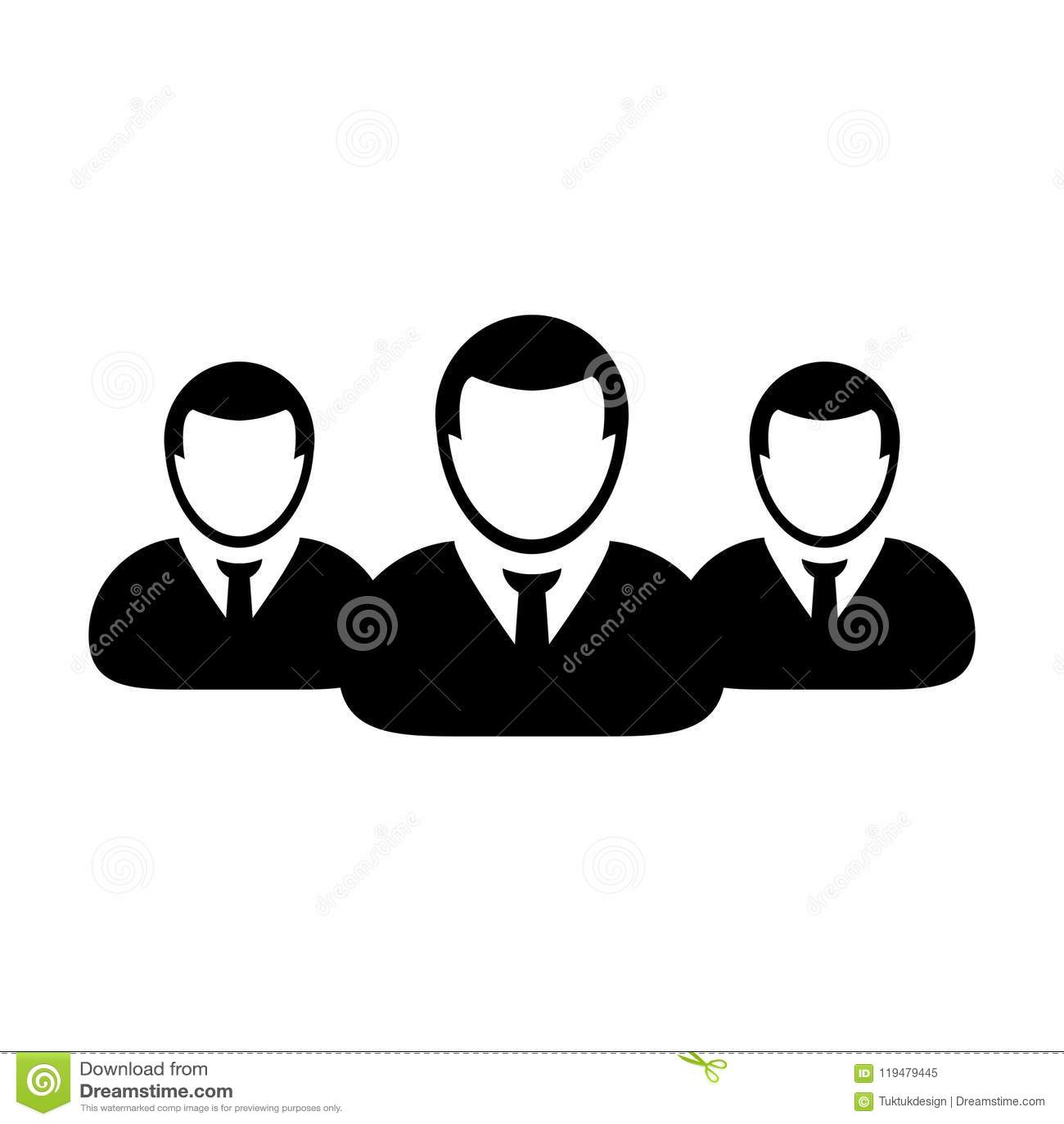 Grupp för vektor för affärspersonsymbol manlig av personsymbolavataren för affärsstyrgrupp i plan färgskårapictogram