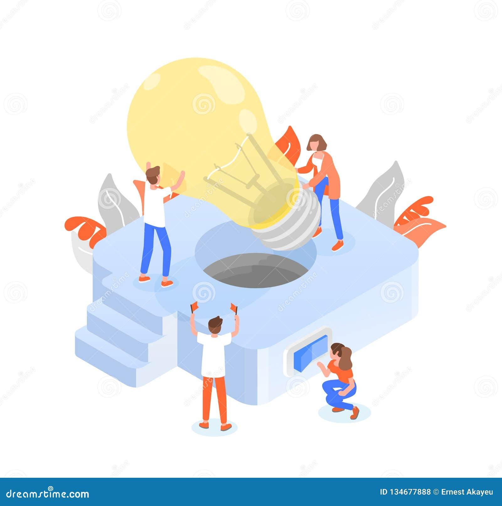 Grupp människor eller gruppmedlemmar som sätter den jätte- lightbulben in i det ljusa fasta tillbehöret Teamwork eller effektivt