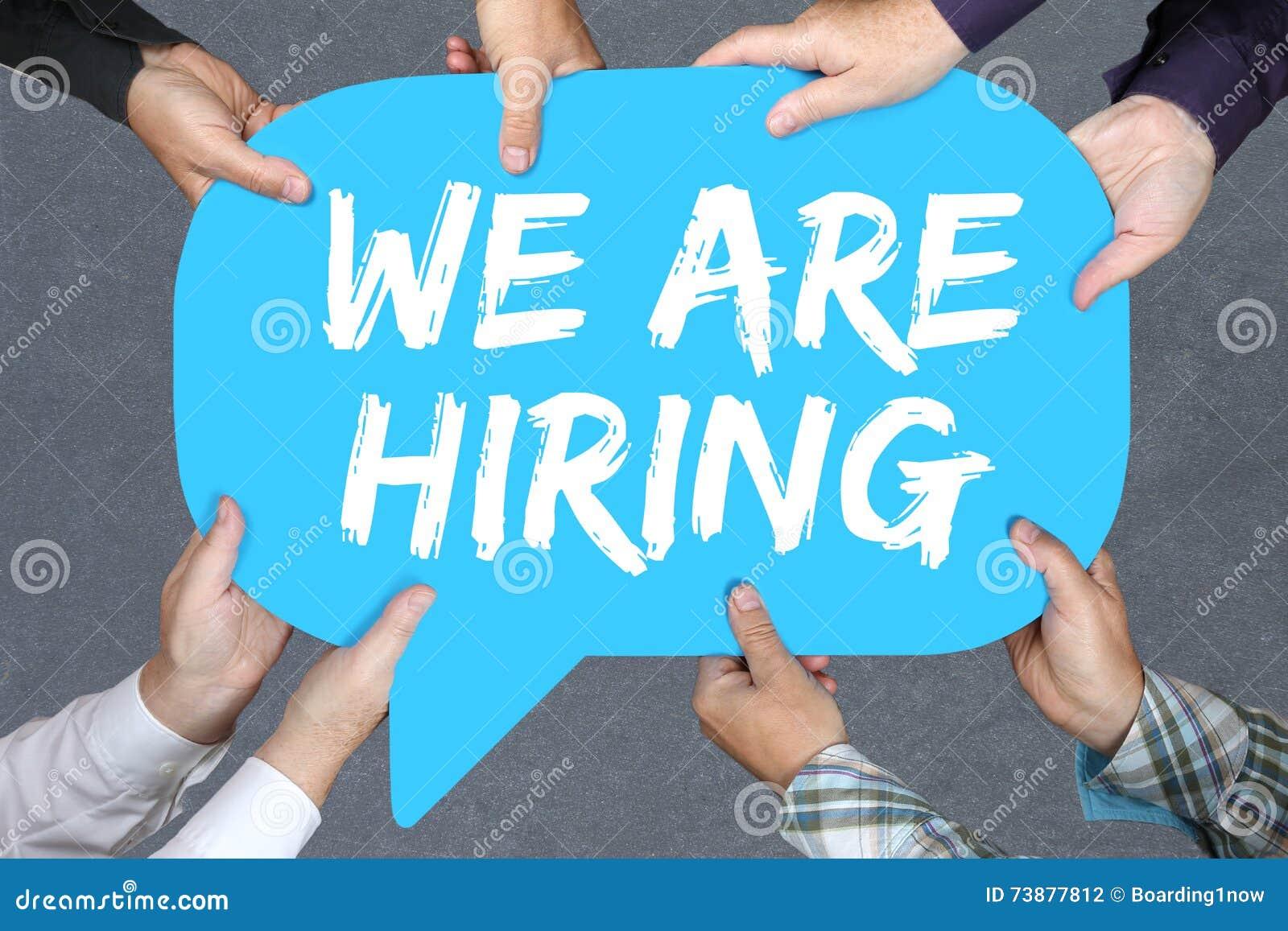 Grupp människorinnehavet hyr vi jobb, funktionsduglig recruitm för jobb
