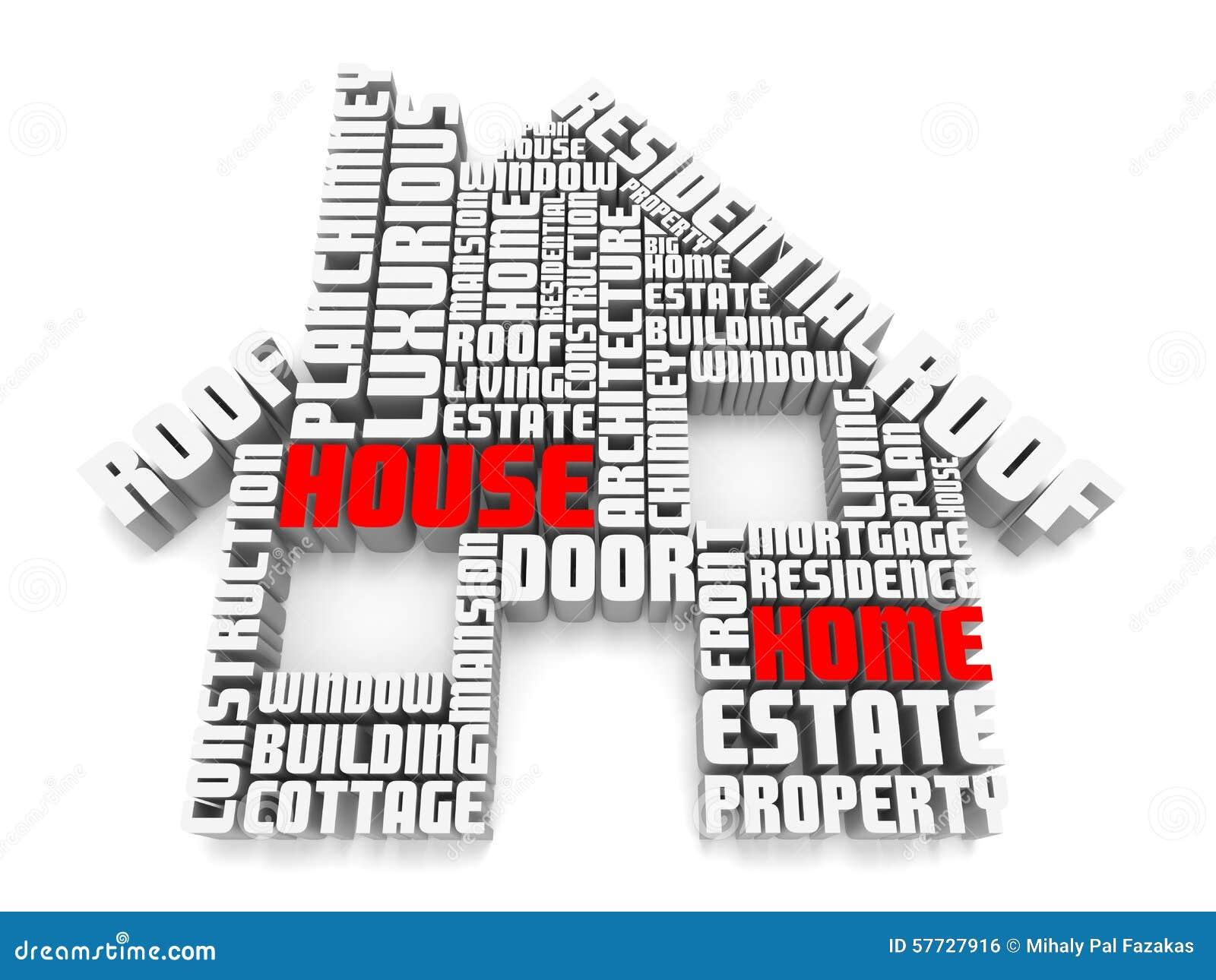 Gruppe 3d rote wei e w rter die ein haus formen stock for Haus formen