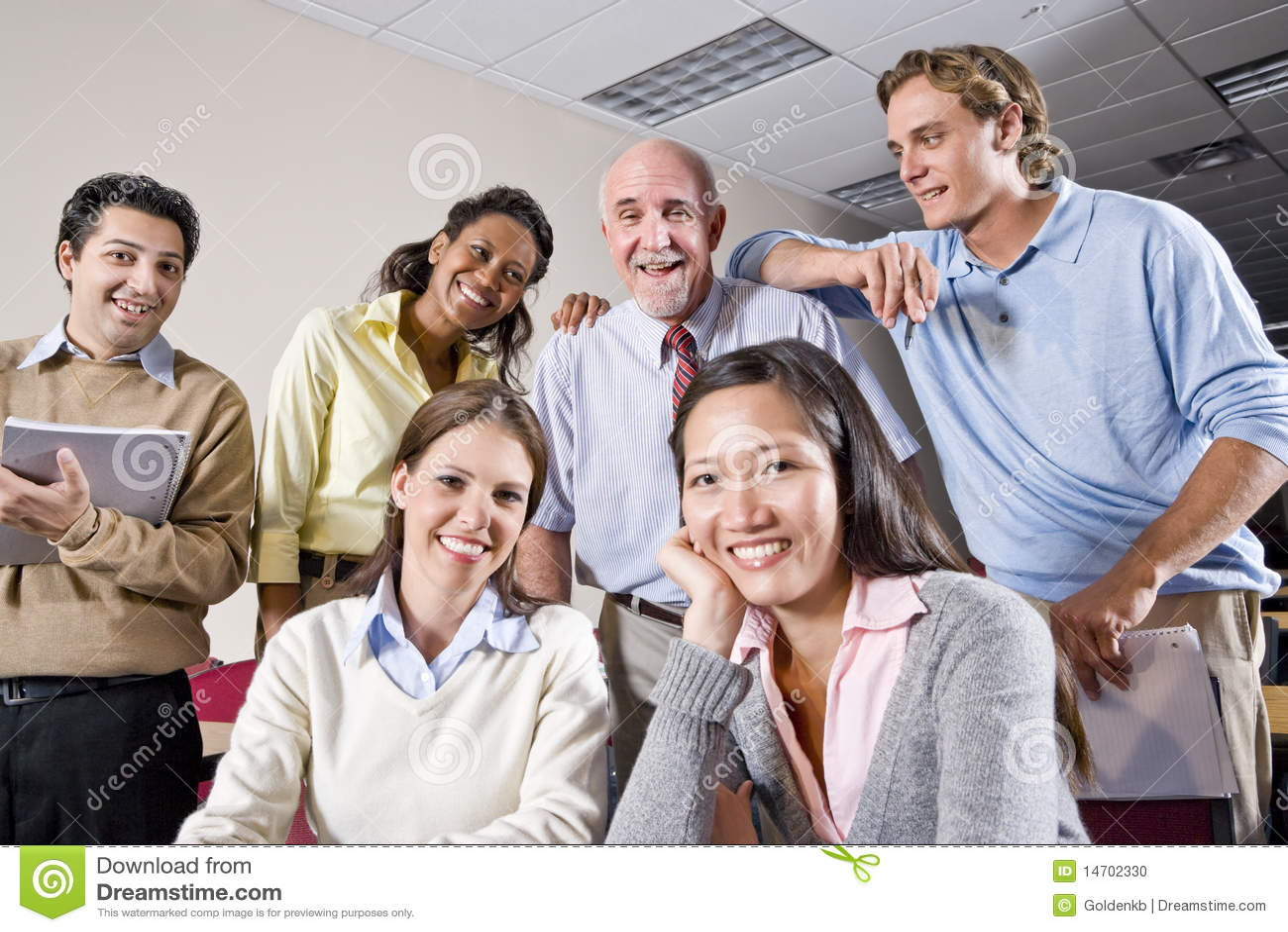 Gruppe der Studenten und des Lehrers in der Kategorie
