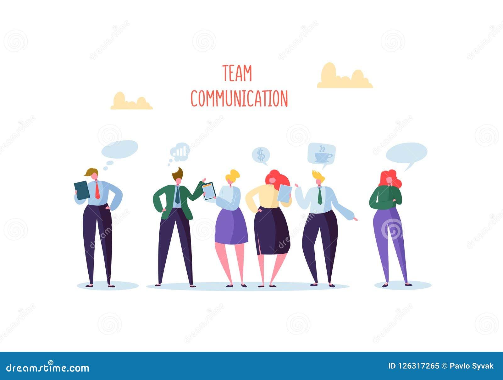 Gruppe des Geschäfts-Charakter-Plauderns Büro-Leute Team Communication Concept Sozialmarketing-Mann-und Frauen-Unterhaltung