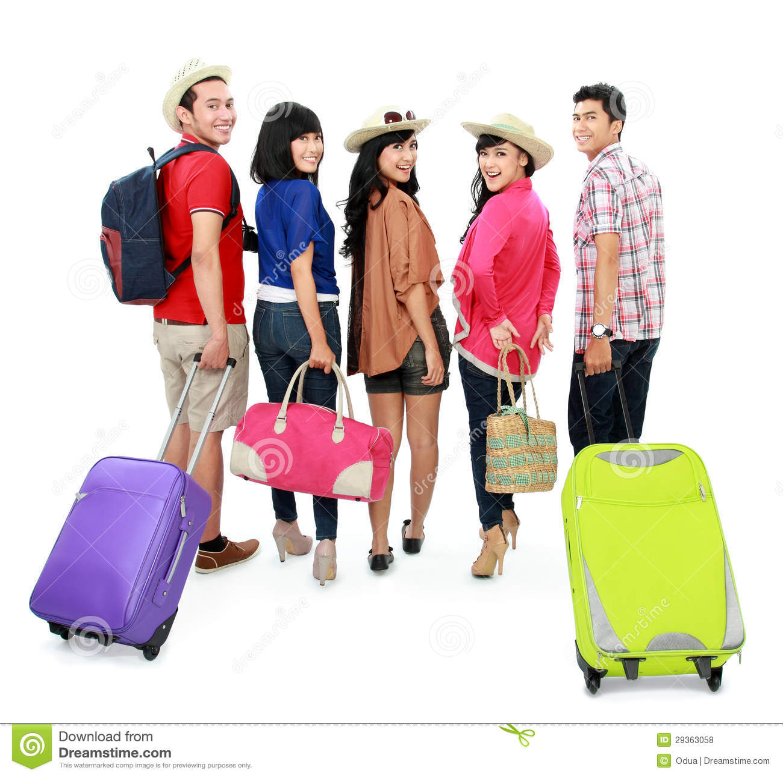 Gruppe des jungen Touristen