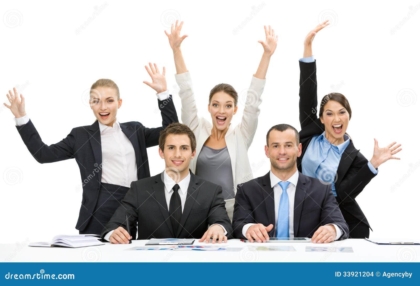Gruppe Geschäftsleute mit den Händen oben
