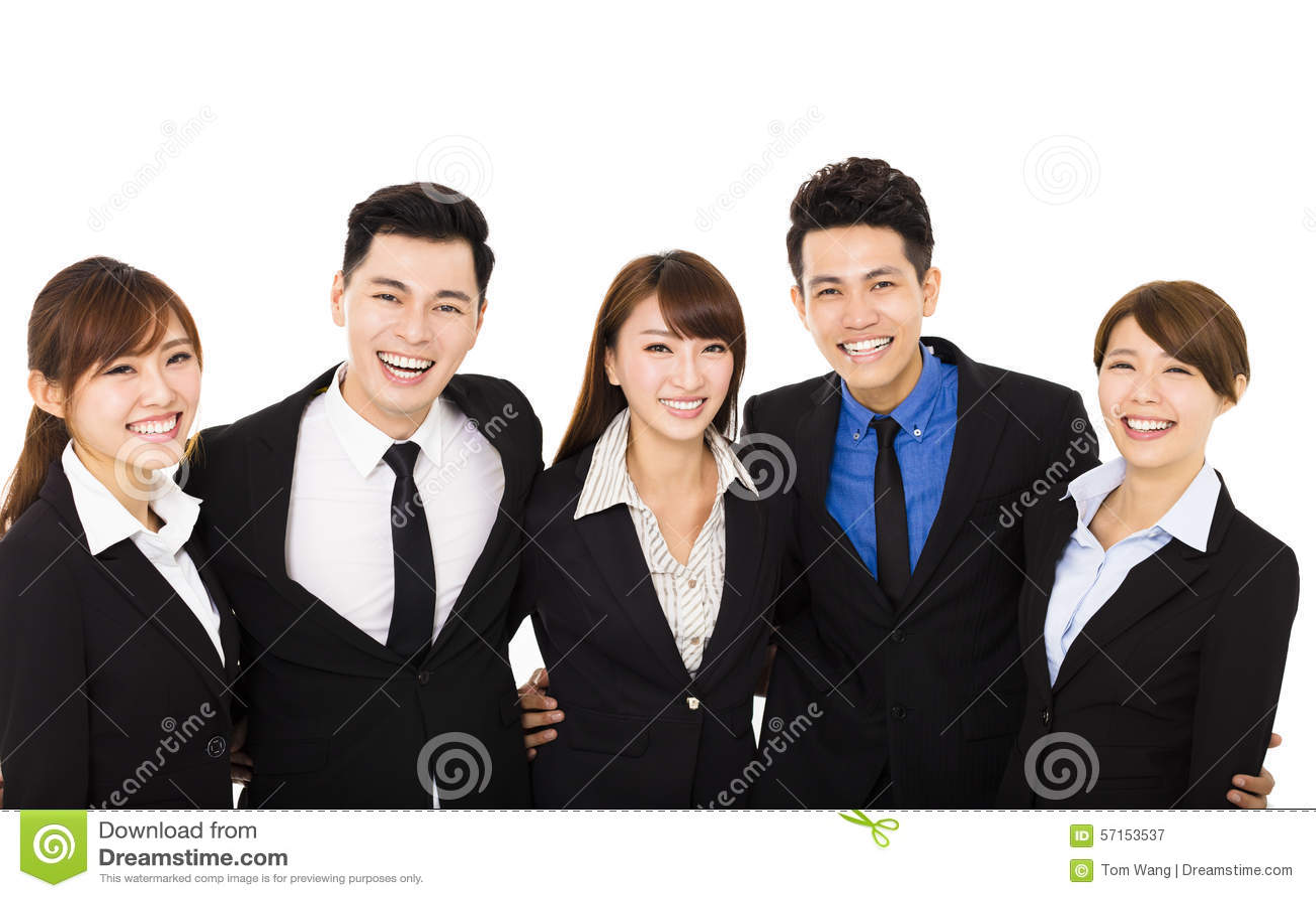 Gruppe glückliche Geschäftsleute lokalisiert auf Weiß