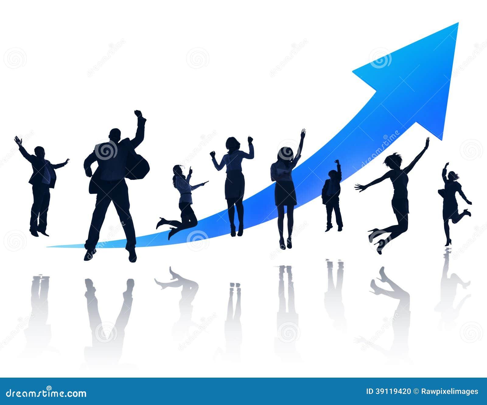 Gruppe glückliche Geschäftsleute Springen