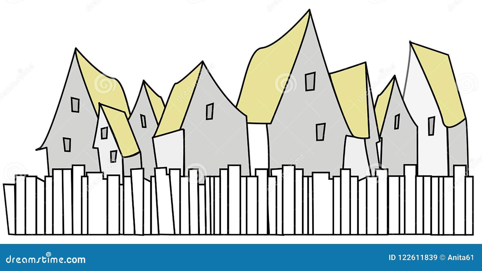 Gruppe Häuser mit gelben Dächern mit Zaun in der Front