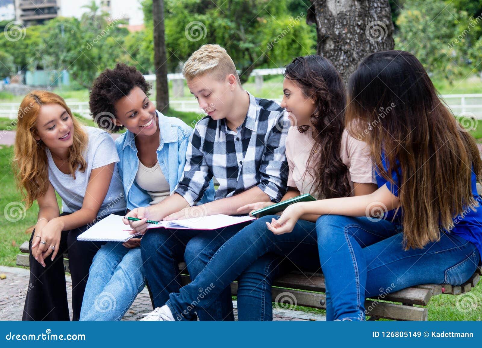 Gruppe internationale Studenten, die über ein Projekt sprechen