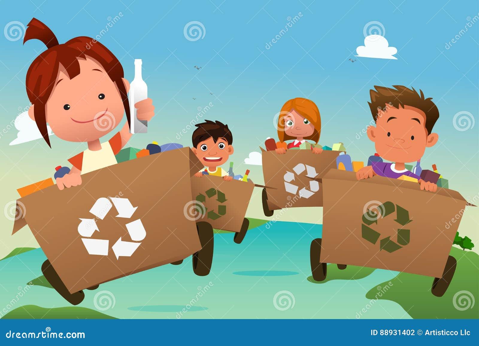 Gruppe Kinder, die Abfall aufbereiten