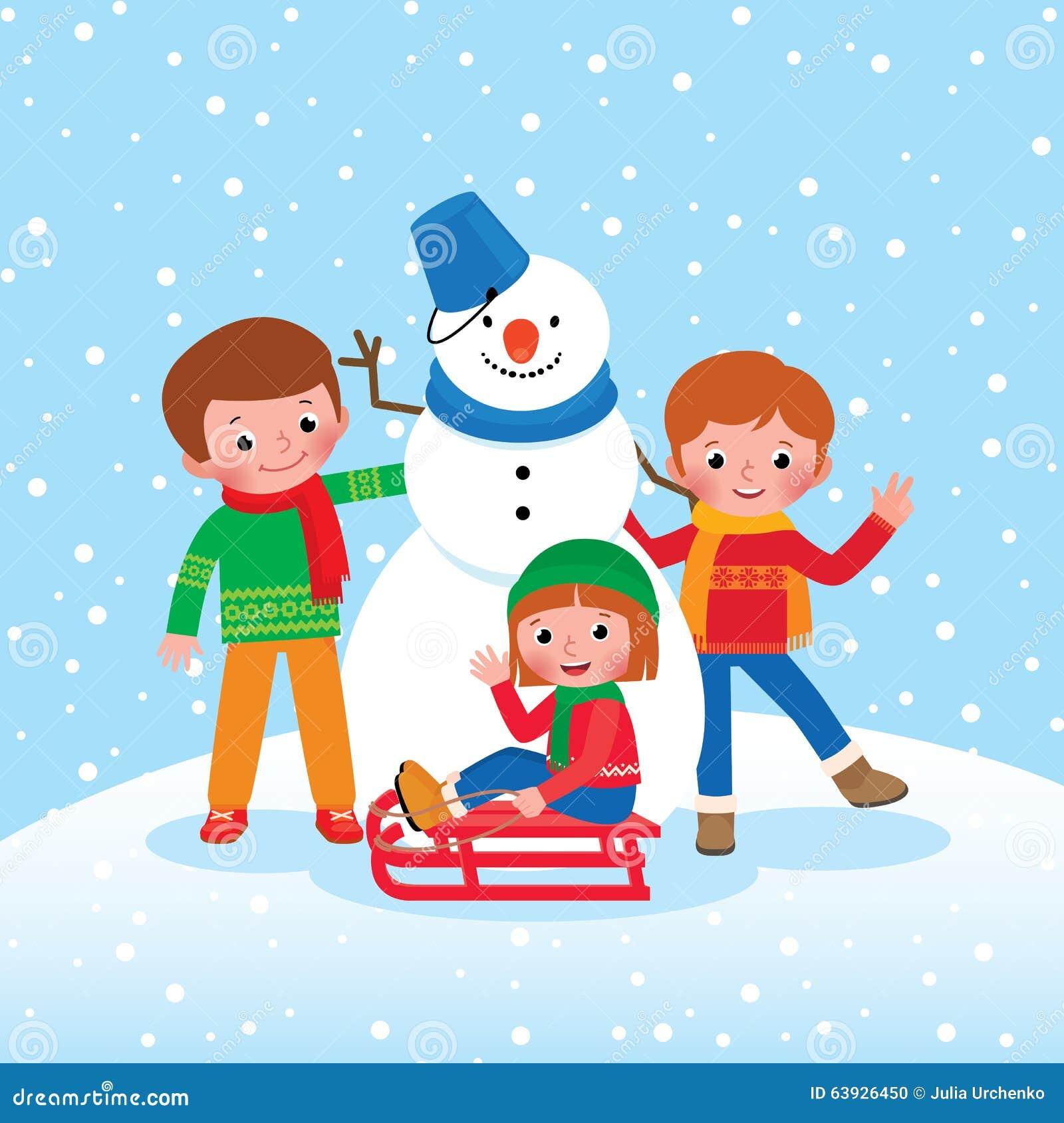 Kinder Im Winter Clipart