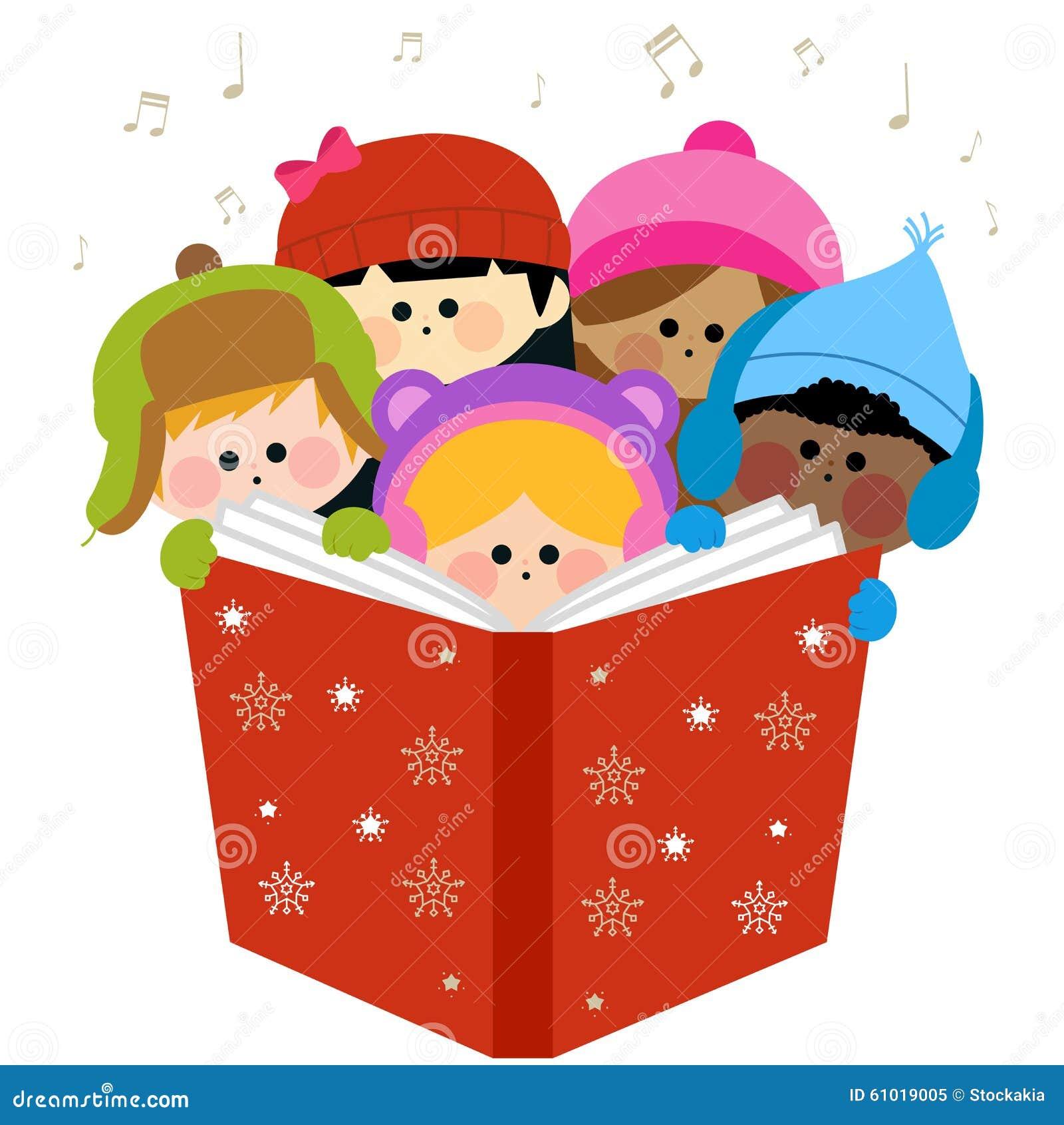 Gruppe Kinder, Die Weihnachtslieder Singen Vektor Abbildung ...