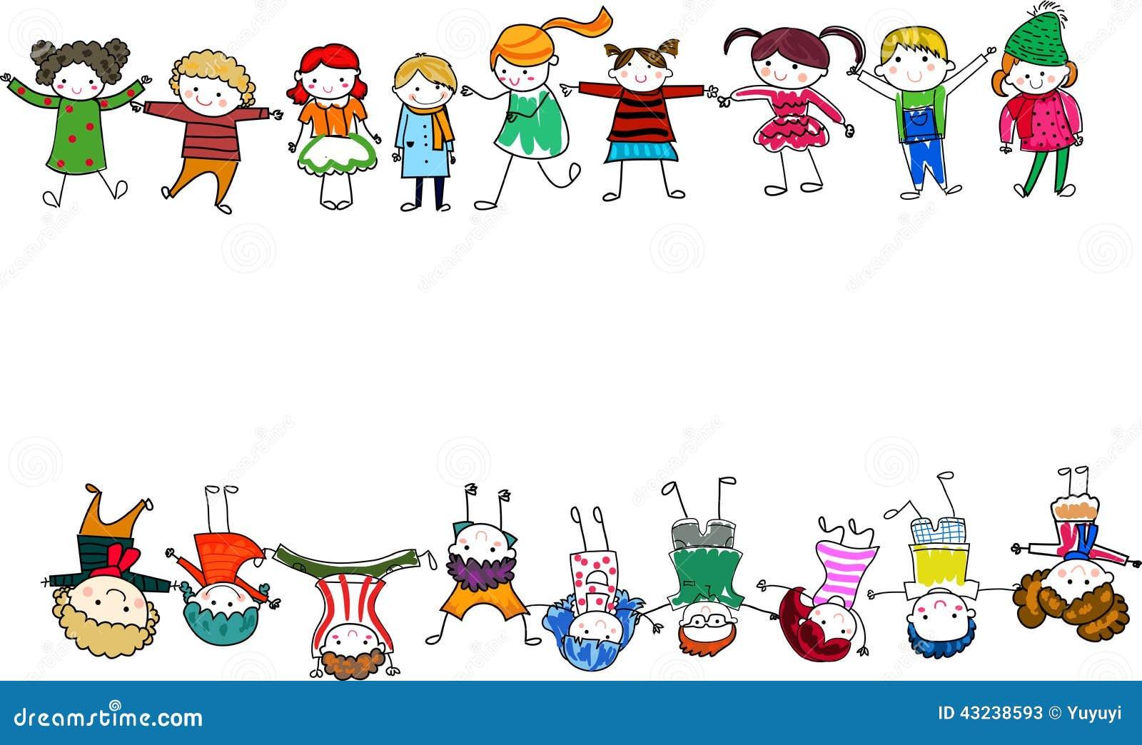 Gruppe Kinder mit unbelegtem Zeichen oder Fahne
