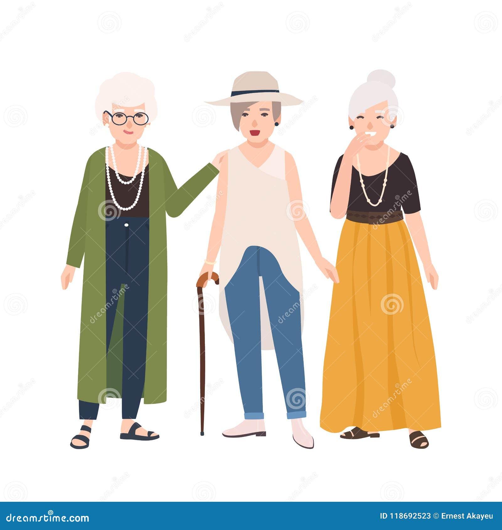 b98272e87533 Gruppe Lächelnde ältere Frauen Kleidete In Der Eleganten Kleidung An ...