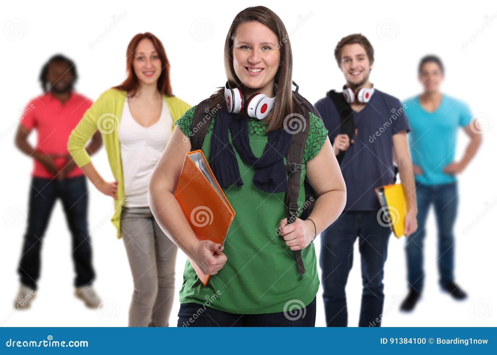 Gruppe lächelnde Leute der Studenten lokalisiert