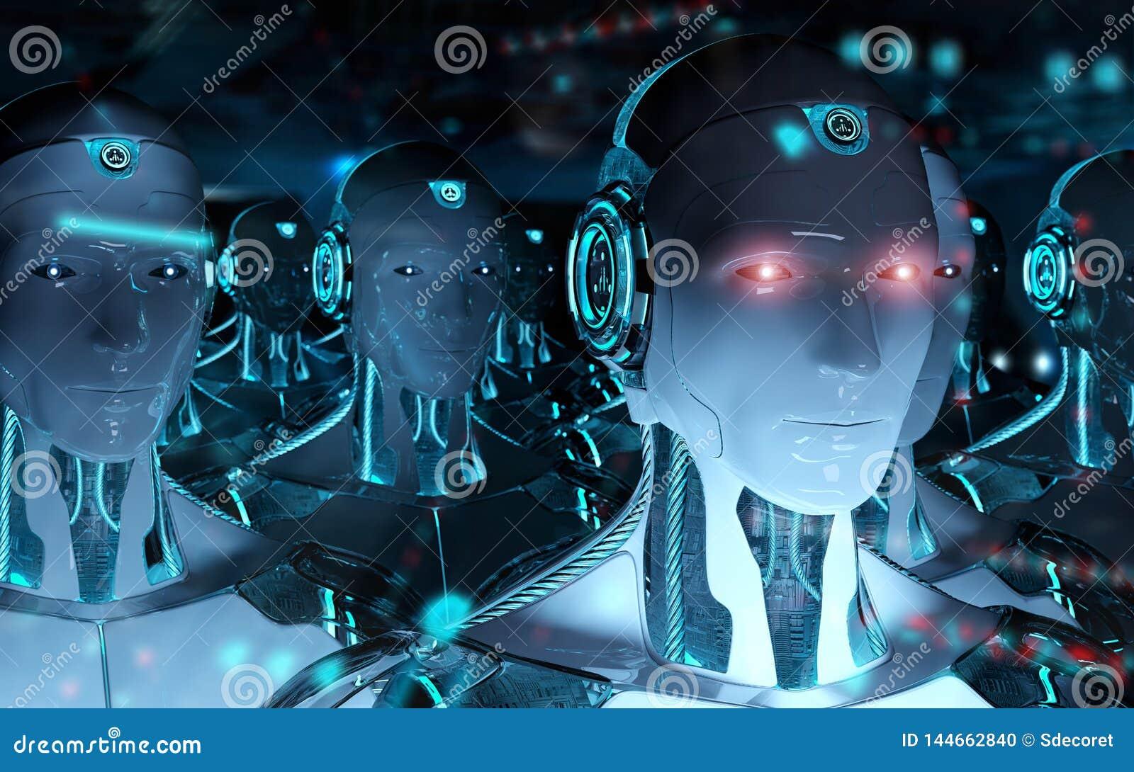 Gruppe männliche Roboter, die Wiedergabe der Führer Cyborgarmee 3d folgen