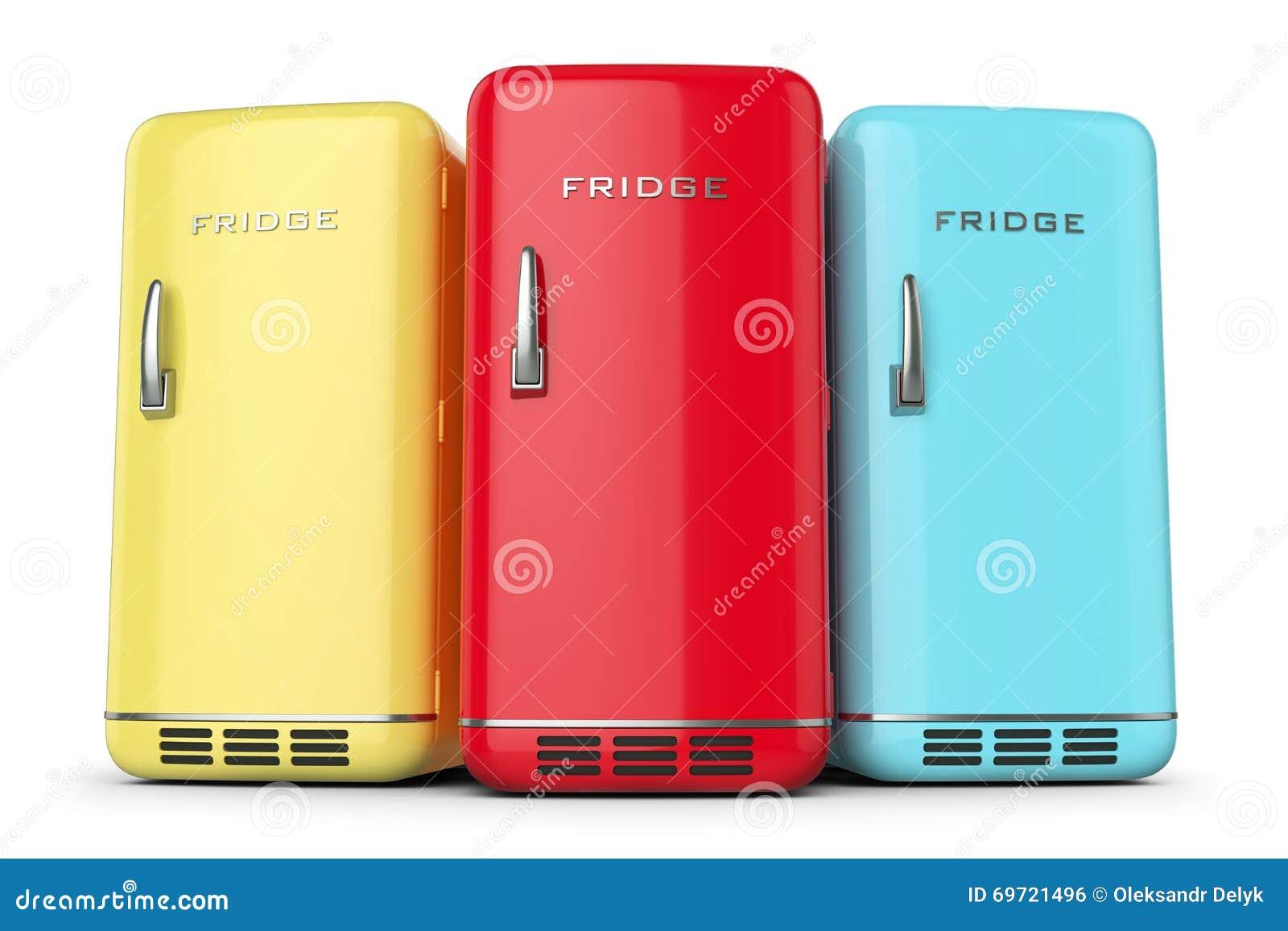 Gruppe Retro- Farbige Kühlschränke In Der Reihe Stock Abbildung ...