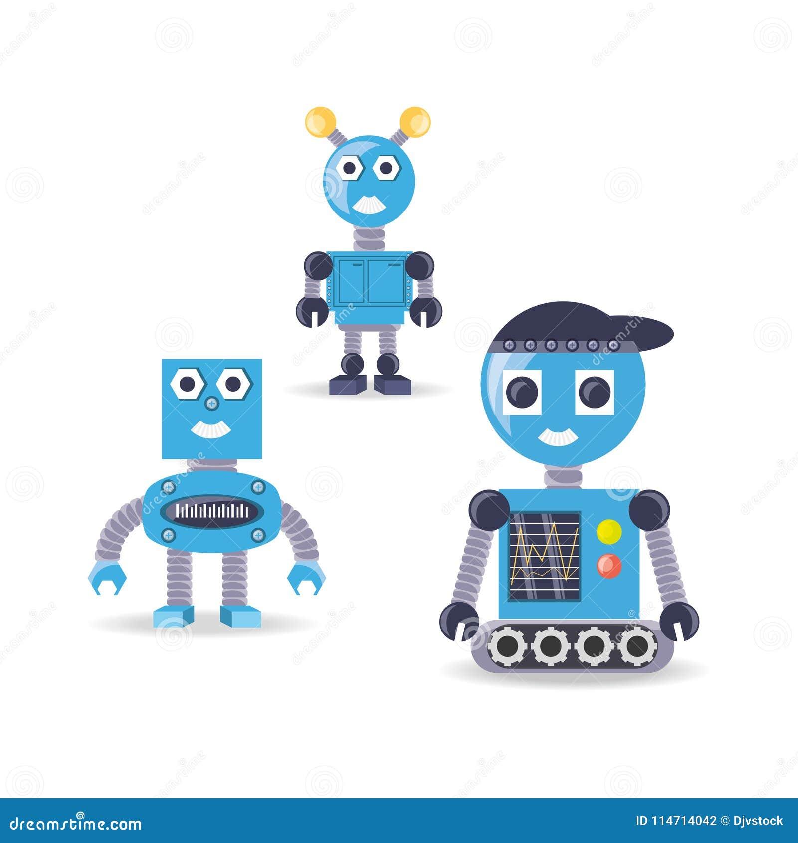 Gruppe Roboterkarikaturdesign