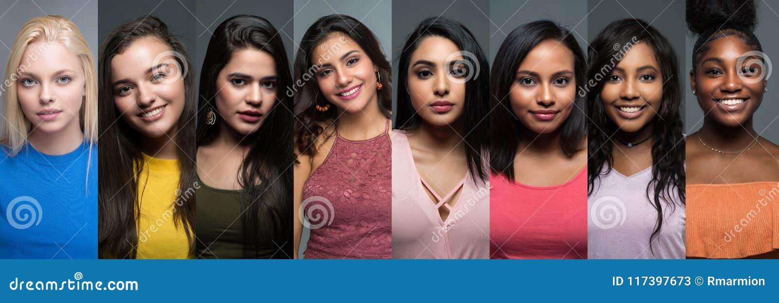 Gruppe verschiedene jugendlich Mädchen
