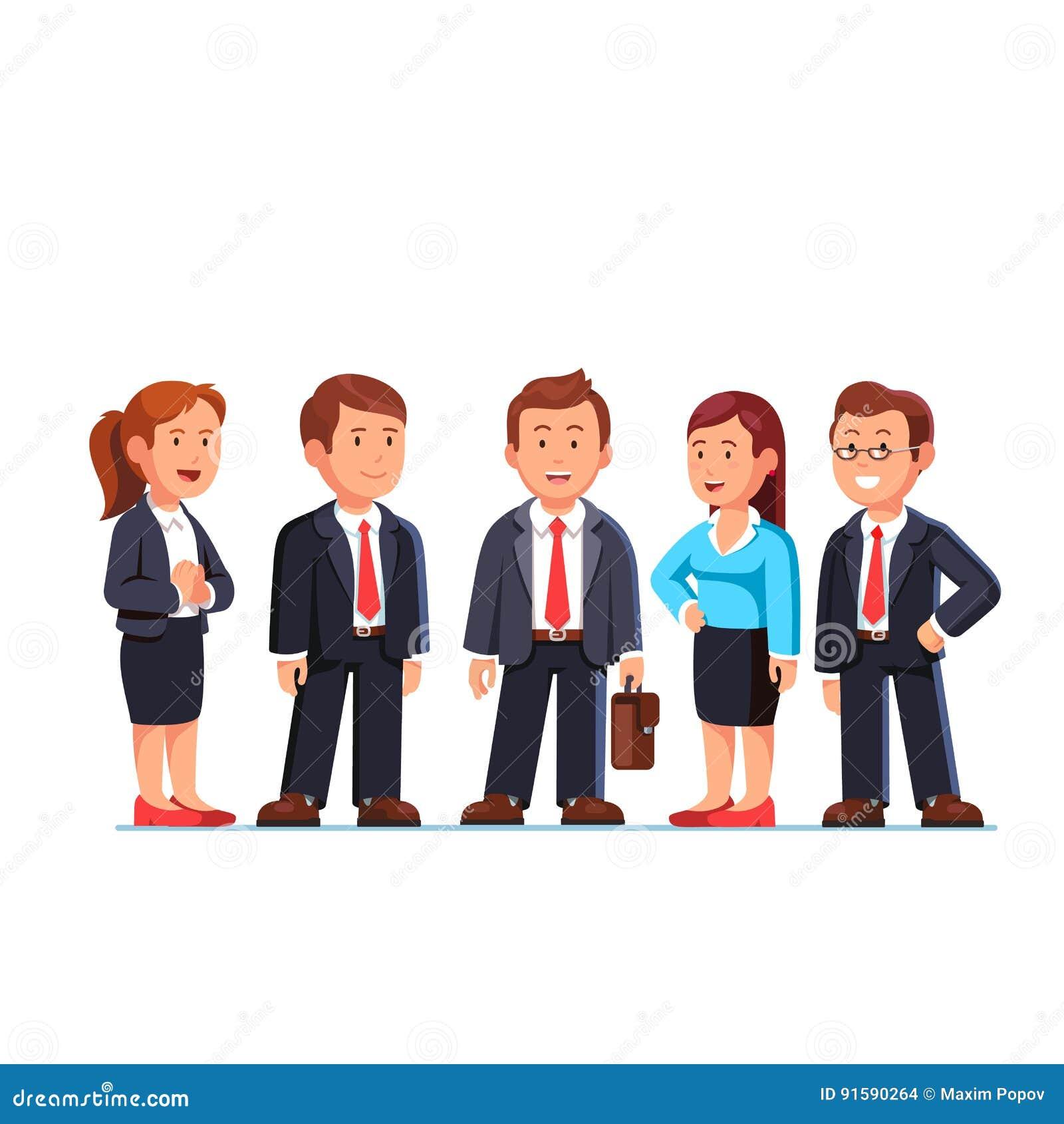 Gruppe von fünf Geschäftsleuten, die in den Klagen stehen