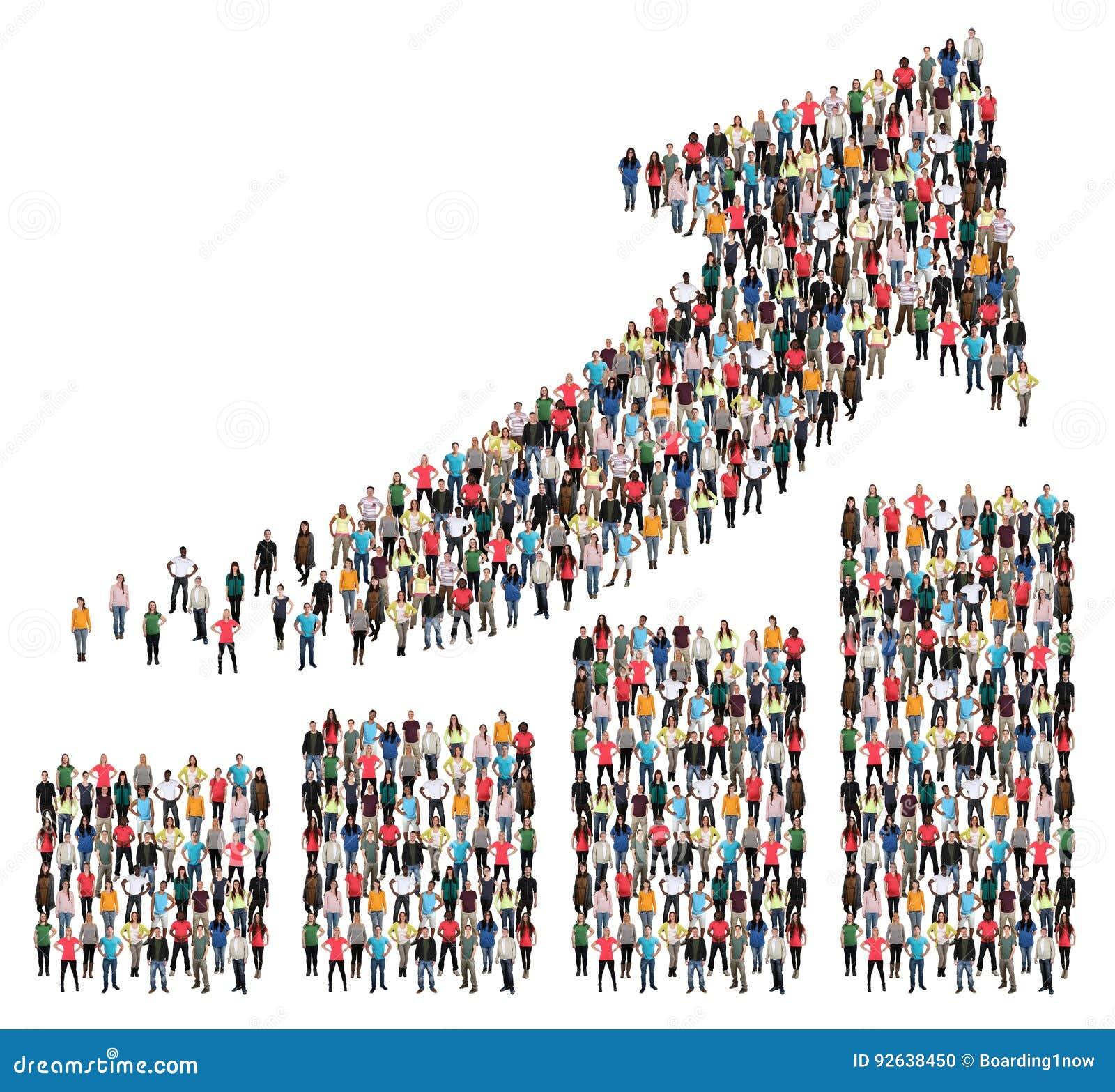 Gruppe von Personenen-Erfolgsgeschäfts-Gewinn-Wachstums-Diagramm-Pfeilverkäufe