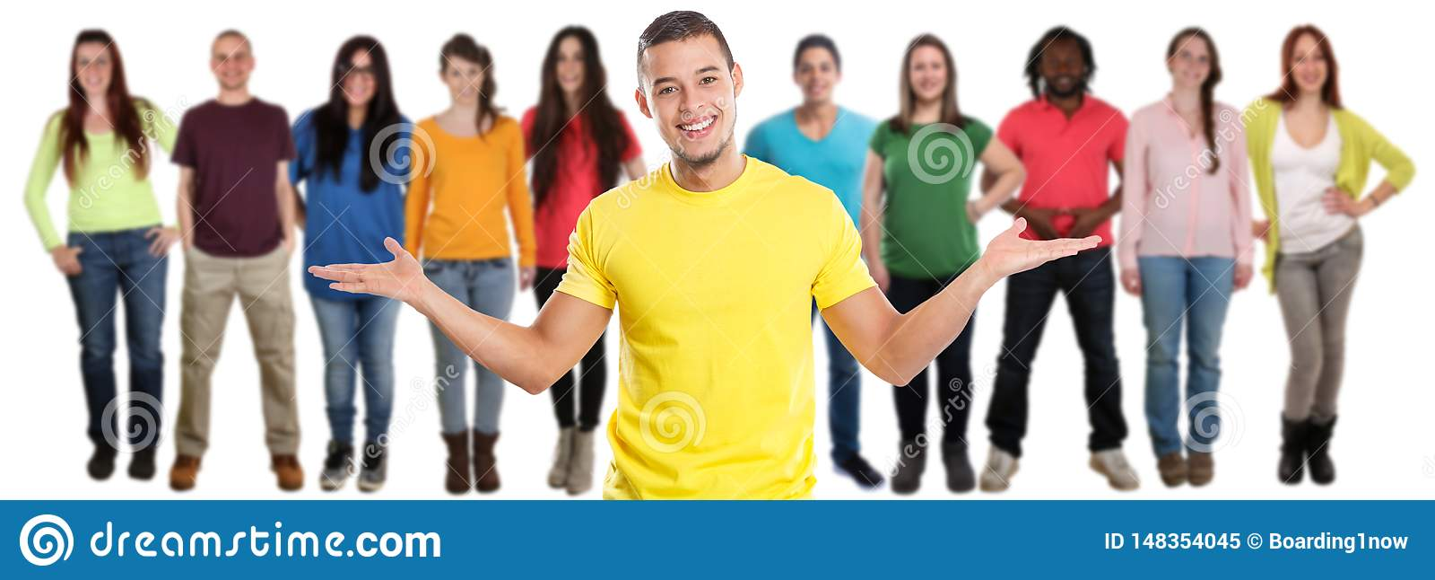Gruppe von Social Media-Latein Latino der jungen Leute der Freunde lokalisiert auf Weiß