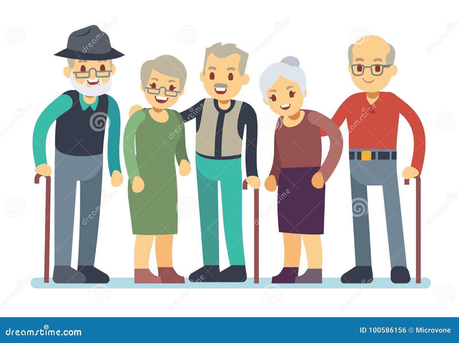 b13baaf388d8 Gruppe Zeichentrickfilm-Figuren Der Alten Leute Glückliche ältere ...