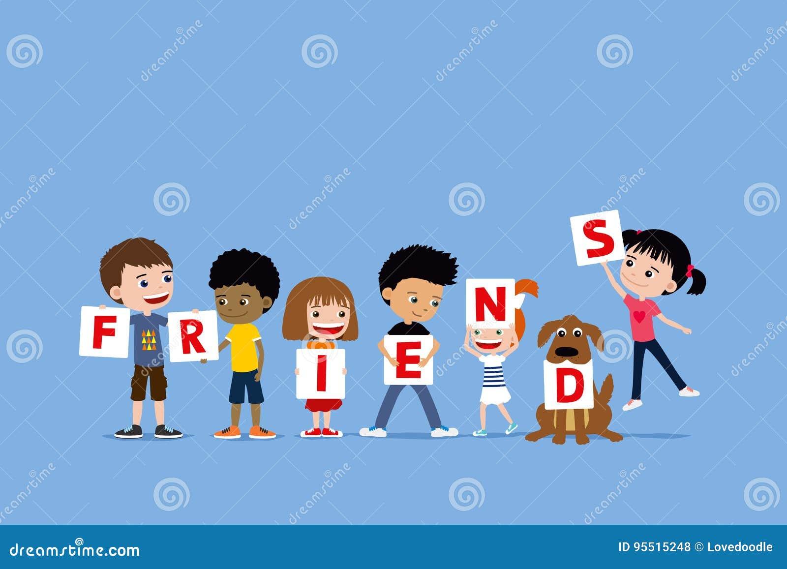 Gruppen av barn och ett hundinnehav märker att säga vänner Gullig olik tecknad filmillustration av små flickor och pojkar