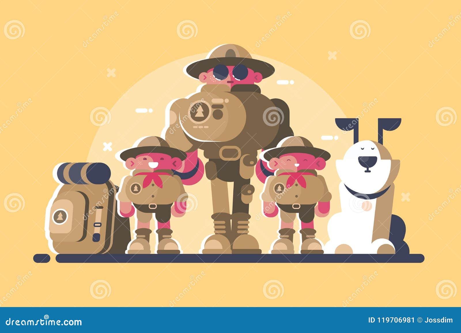 Gruppen av spanar med ryggsäcken