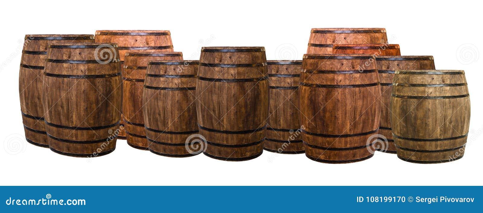 Gruppen för fatet för många ektrummor som isoleras på en vit bakgrund, exponering och, kommer med smaken av vin