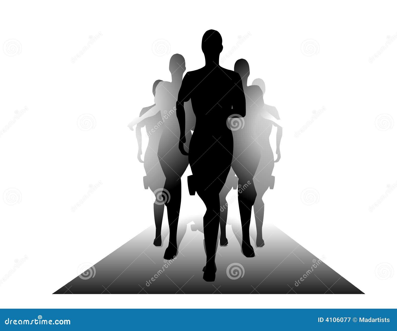 Gruppen-Leute-Schattenbilder, die auf Oberfläche laufen
