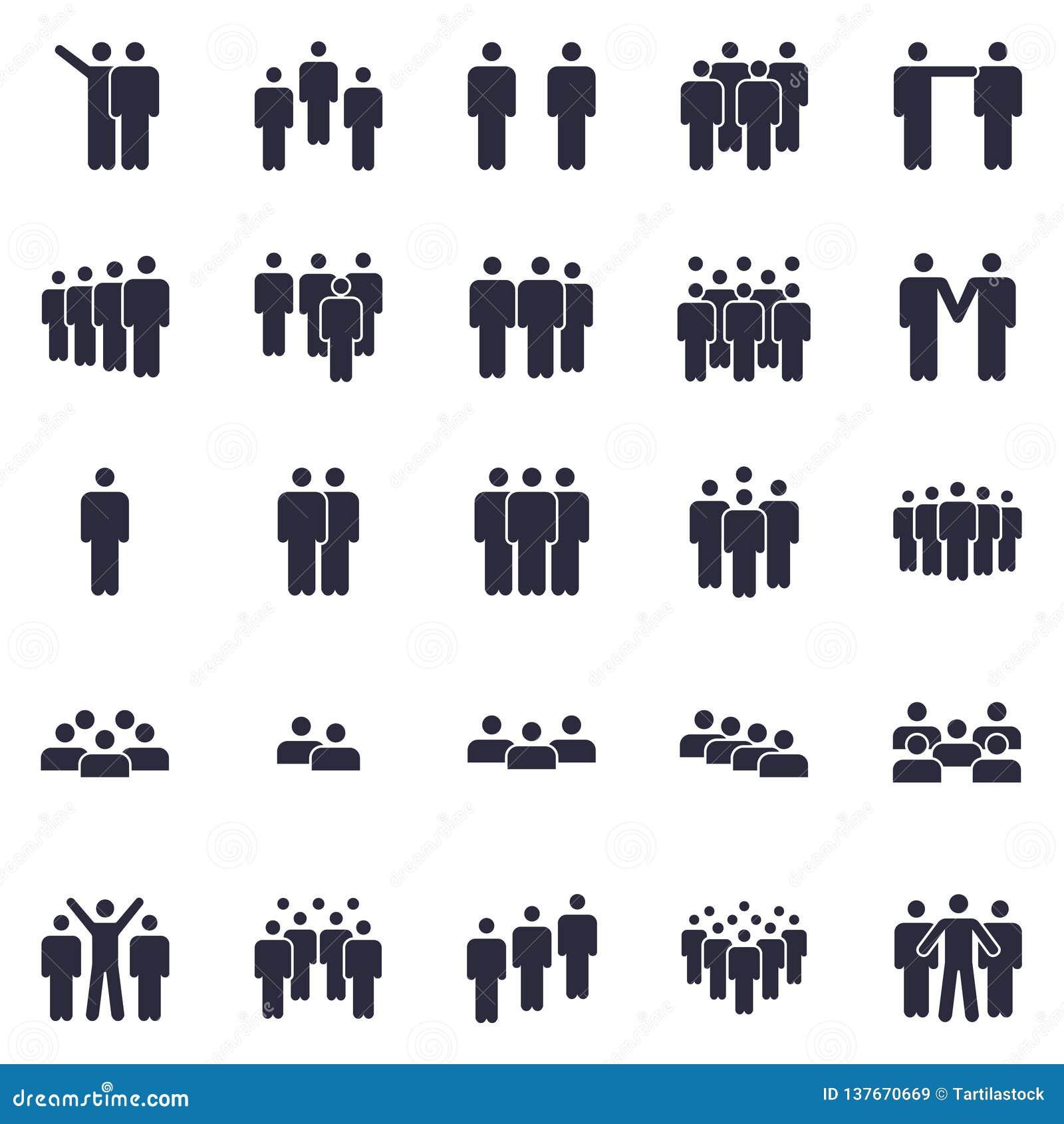 Grupper av personsymbolen Affärslagpersonen, symbolet för kontorsteamworkfolk och arbetsgruppen isolerade kontursymboler