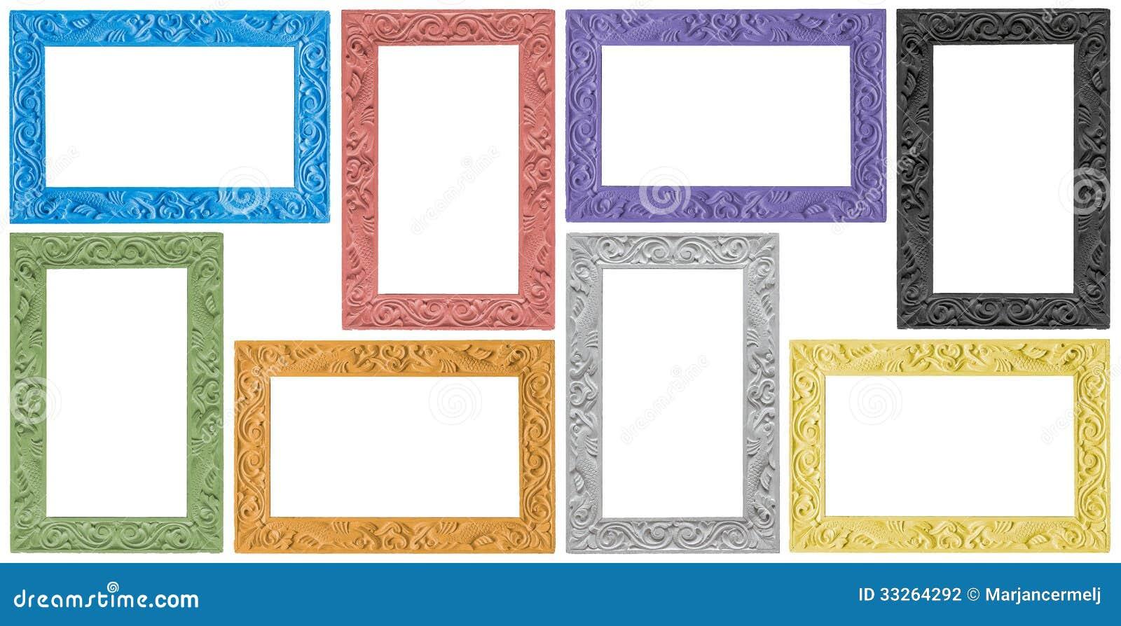 Gruppo antico elegante di cornici colorate fotografia - Cornici foto design ...