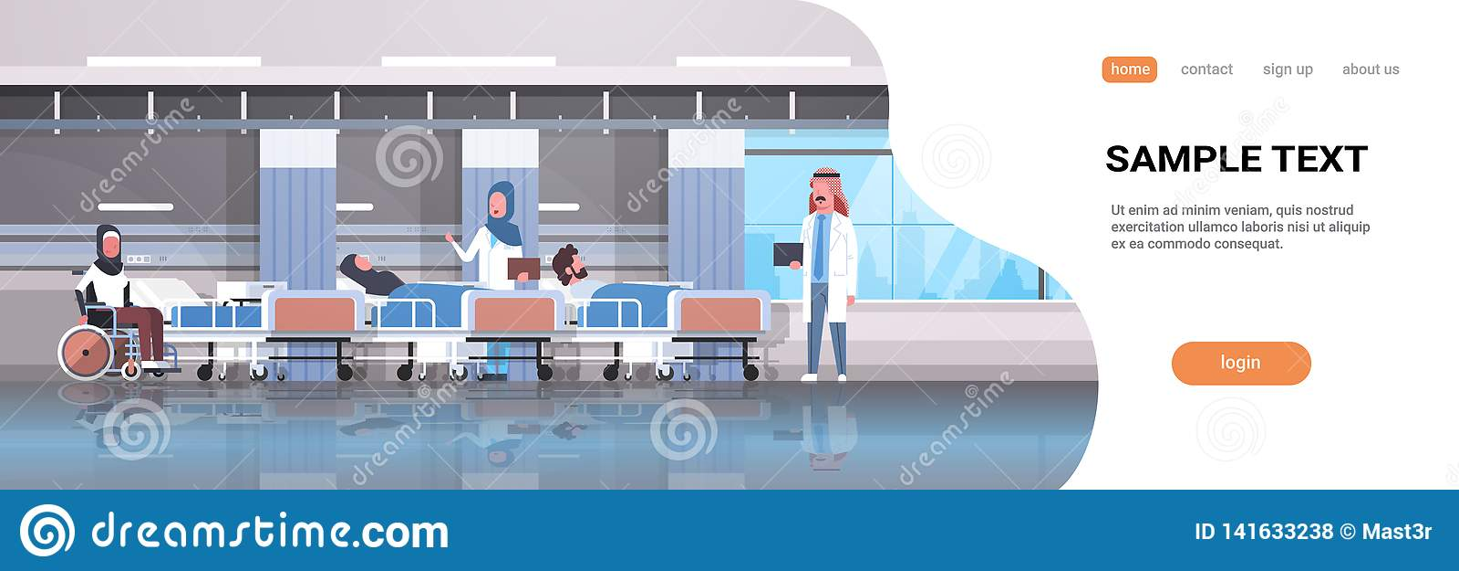 Gruppo arabo di medici che visita i pazienti arabi disabili che si siedono sanità intensiva di menzogne del reparto di terapia de