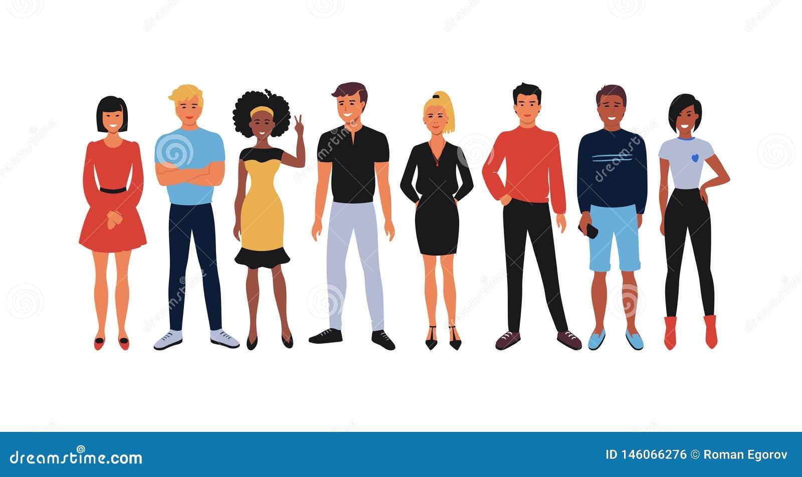 Gruppo degli impiegati del fumetto Gruppo degli impiegati di concetto, uomini sorridenti felici e donne dei giovani stanti insiem
