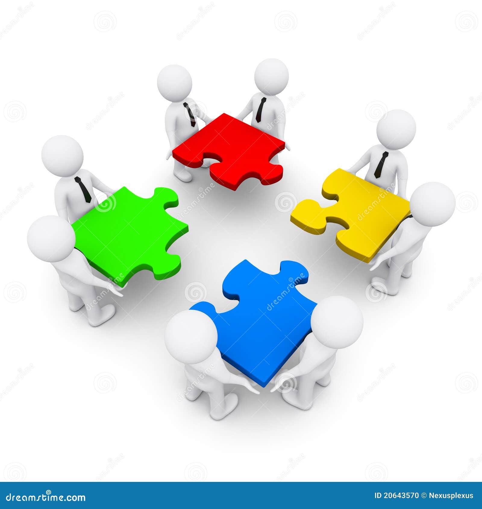 Gruppo degli uomini 3d che fanno un puzzle illustrazione - Collegamento stampabile un puzzle pix ...