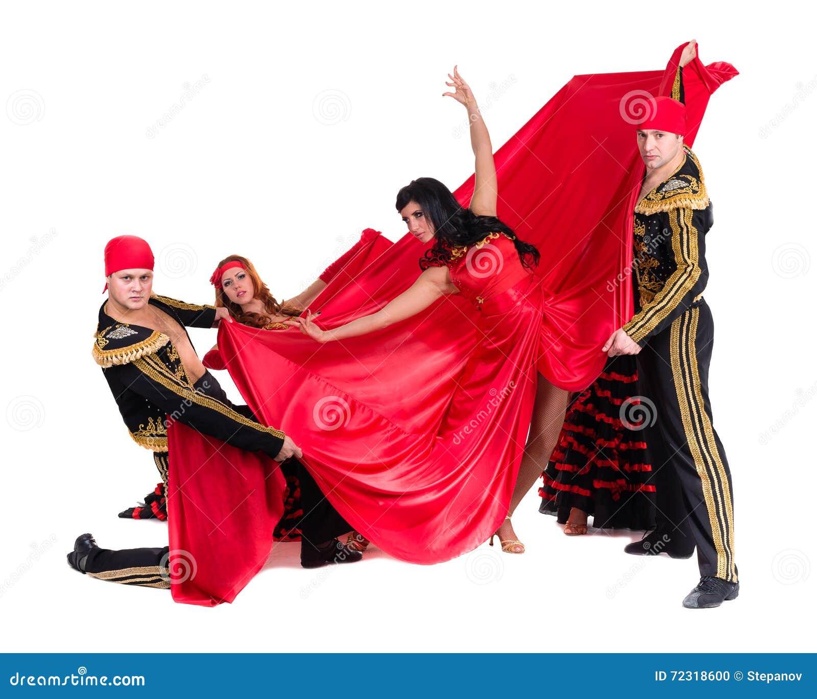 Flamenco Dura Vestiti Da Del In Ballerino Che Tradizionali Gruppo Apq8q