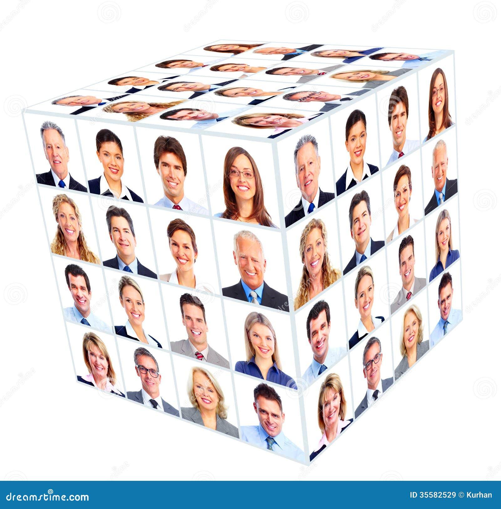 Gruppo dell uomo d affari. Collage del cubo.