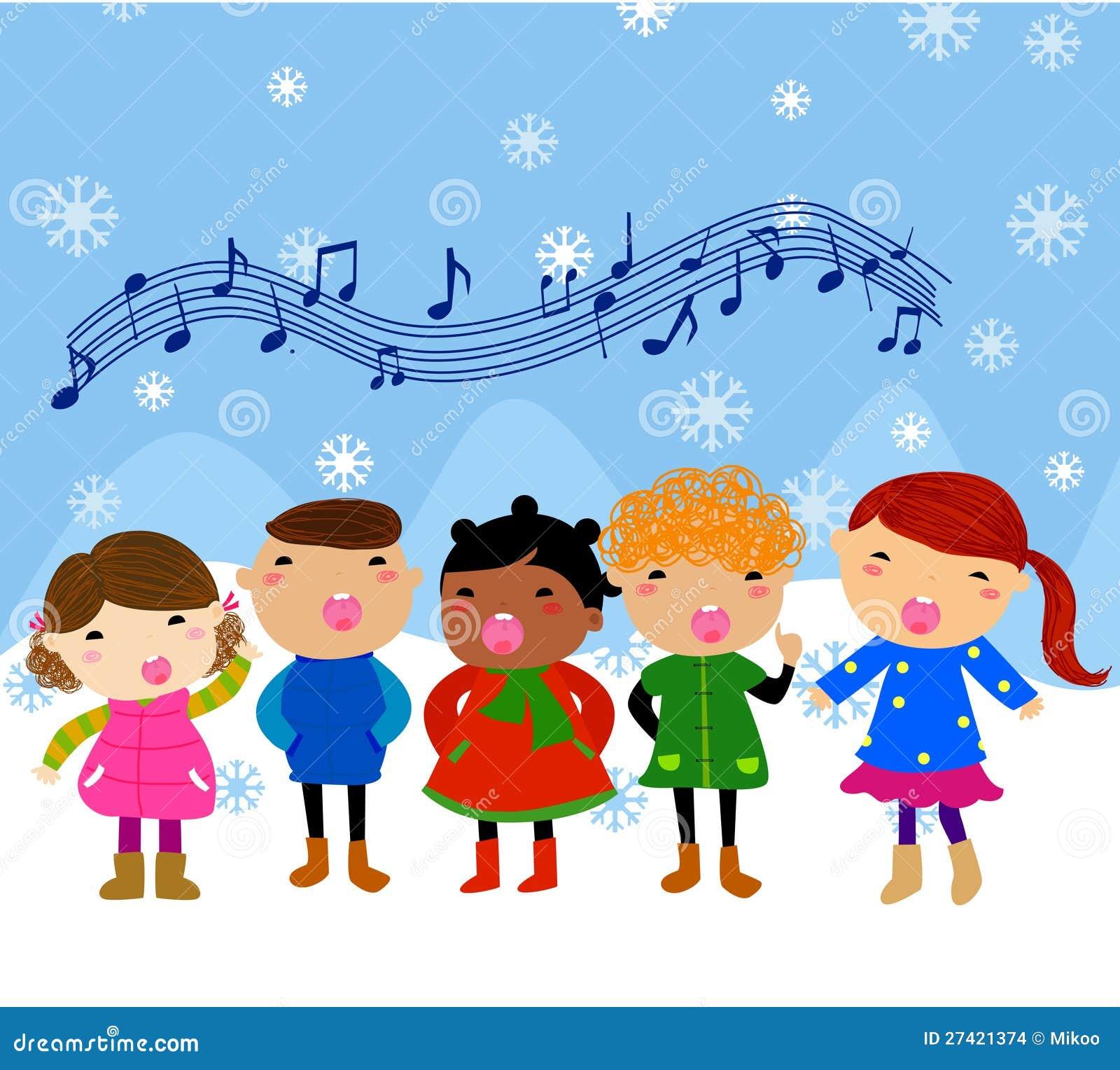 Gruppo di bambini che cantano illustrazione vettoriale - Immagini di cicogne che portano bambini ...
