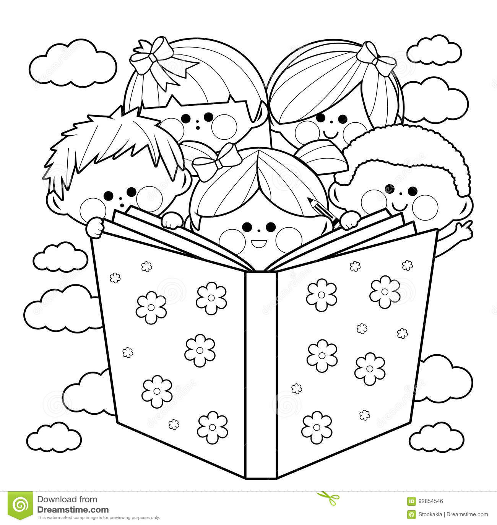 Gruppo di bambini che leggono una pagina del libro da - Pagina da colorare di una bibbia ...