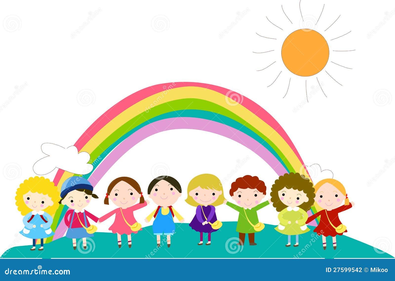 Célèbre Gruppo Di Bambini E Di Arcobaleno Illustrazione di Stock  DD35