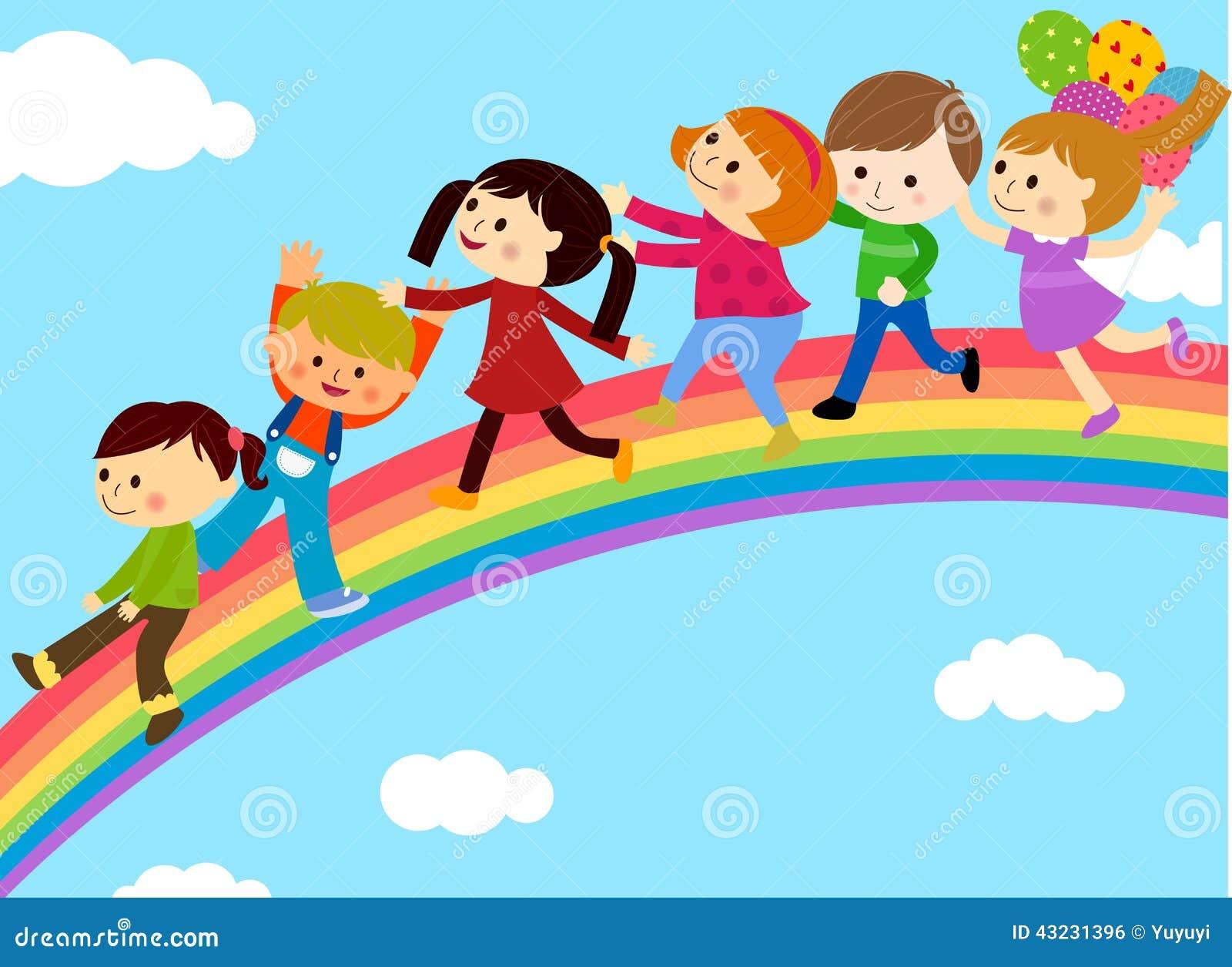 Gruppo di bambini e di arcobaleno illustrazione vettoriale for Arcobaleno da colorare per bambini